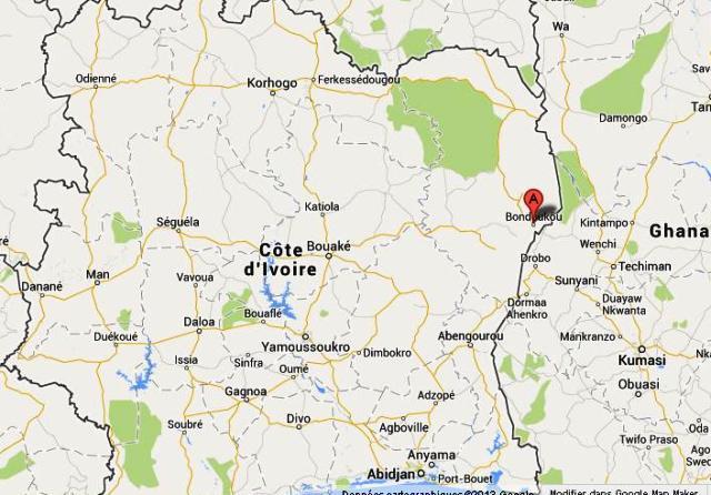 Localisation sur carte de la ville de Bondoukou